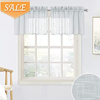RYB HOME Linen Curtain Tiers for Bedroom Window Treatment, Rod Pocket Valance Set for Bathroom Hazy Sheer for Privacy Protect, Dove Grey, Width 52 in x Length 18 in per Panel, 2 Pcs
