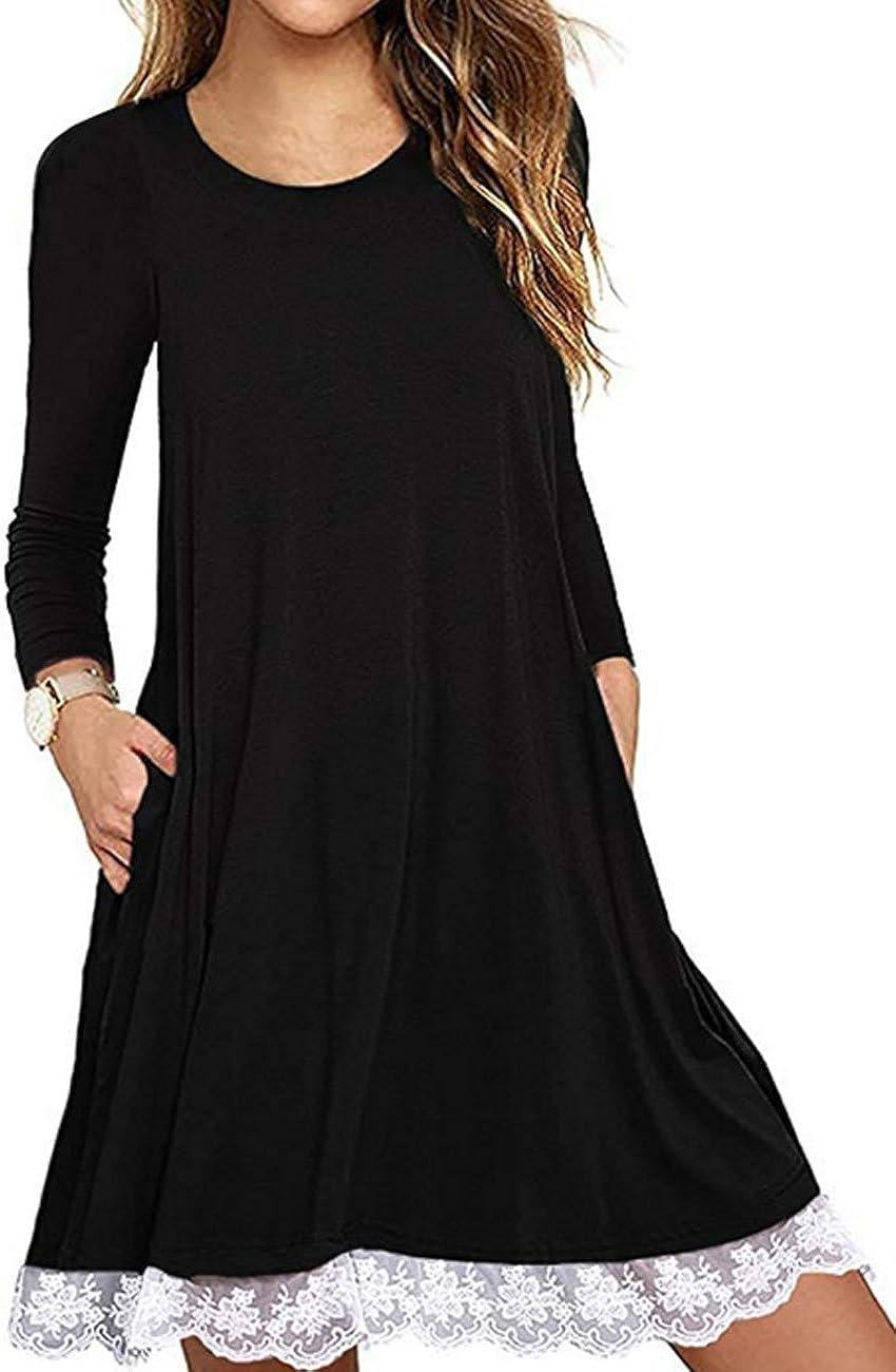 Halife Women's Summer Fall Short Sacramento Mall Hem Safety and trust T-S Lace Sleeve Long