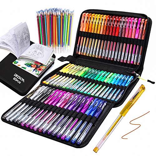 Penne Gel Glitter ZSCM Confezione da 120 Penne Gel Colorate Il Set include 60 Pennarelli Gel, 60 Ricariche, Penne Glitter per Bambini Libri da Colorare per Adulti Disegnare Scrapbooks Journaling