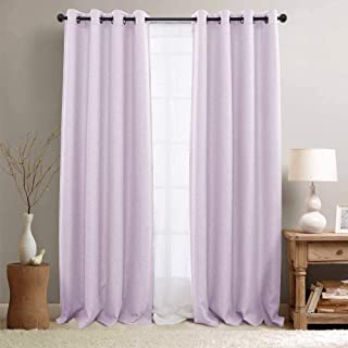 jinchan Linen Textured Curtains for Living Room Curtain Panel Room Darkening Window Curtains Grommet Blackout Drapes for Bedroom Window Treatment Set 1 Pair (84 Inch, Lilac)