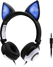 ONTA Kids Headphones with Cute LED Glowing Cat Ears,Foldable, Noise-Canceling and Adjustable Kids Headphones for Boys and Girls (Black)