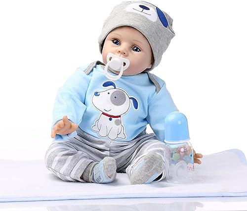 Decdeal Junge Reborn Baby Puppe Silikon Babypuppe 55cm mit Blau Augen