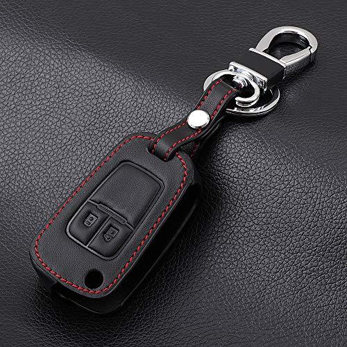 SDLWDQX Funda de piel para llave de coche, compatible con Chevrolet Cruze Aveo Trax Opel Astra Corsa Meriva Zafira Antara J Mokka, 2 botones