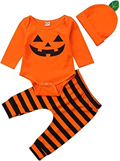 Halloween Pumpkin Costumes Infant Baby Boy Girl Romper Top +Stripe Pant+ Hat 3pc Outfit Set