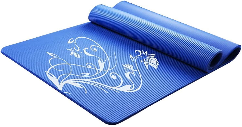 ヨガマット 体操用マット ヨガダンスサマートレーニング女性185 * 80 cm延長および拡大スポーツマットツバキ 体操マット (Color : 青)