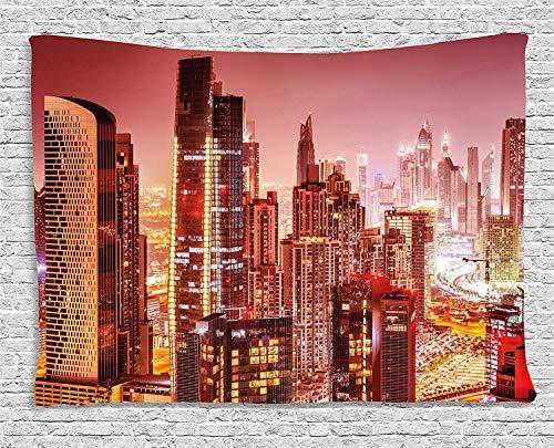 Cityscape Tapestry, Dubai at Night Cityscape con alti grattacieli panorama penisola, ampia parete da appendere per camera da letto, soggiorno, dormitorio, 203,2 x 152,4 cm, rosa Ombre