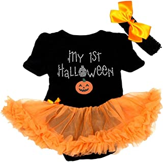 Petitebella My 1st Halloween Pumpkin Bodysuit Tutu Baby Dress Nb-18m