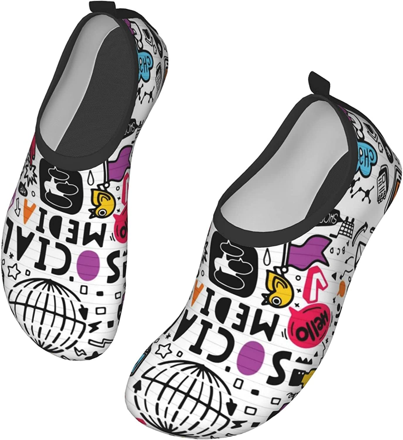Line Art Doodle Water Shoes Swim Wading Shoes Barefoot Shoes for Women Men Beach Pool Surfing