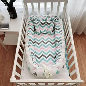 PsWzyze Crib Portable Removable Washable lace Isolation Bed Colored Starry Sky
