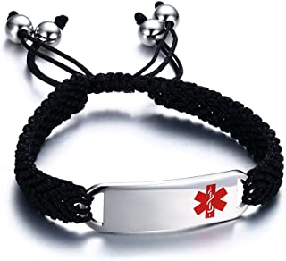 Free-Engraving Unisex Handmade Braided Black String Stainless Steel Medical Alert ID Tag Pull Cord Macrame Bracelets