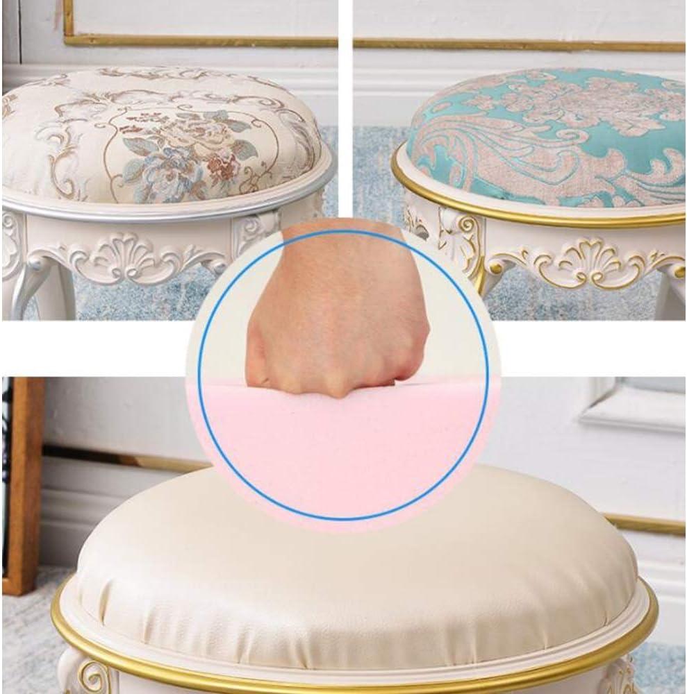 YXDEW Table Basse européen Tissu selles Petit Tabouret Enfants du Salon de la Maison Mini-Banc sculpté Banc en Cuir Rond for Banc de Chaussures Chaise (Color : B) C