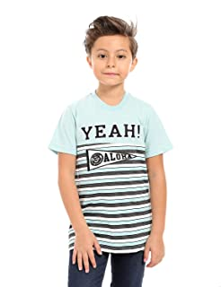 Andora Cotton Front Stitching Letters Striped T-shirt For Boys - Mint and Heather Grey
