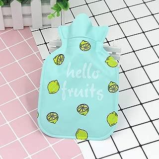 ACHICOO 湯たんぽ ミニ かわいい 漫画 水ボトル ポケット ポータブル 子供 大人 ギフト 6#グリーン-レモン 11 * 18