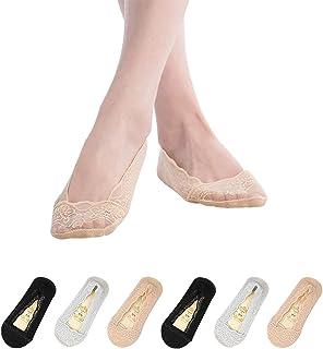 TAGVO, 6Pares Calcetines Invisibles Encaje Mujer Algodón Cortos Nylon Calcetines Silicona Antideslizante Negro Nude Gris