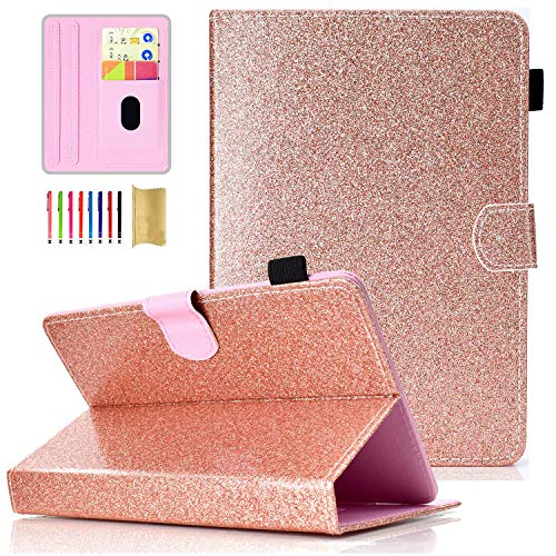 Universal 8 inch Tablet Case, APOLL Glitter PU Leather Multi-Angle Viewing Stand Case with Stylus Holder for iPad Mini 5/4/3/2/1,for Dragon Touch,F ire HD 8 and Other 7.5' to 8.5' Tablet, Rosegold