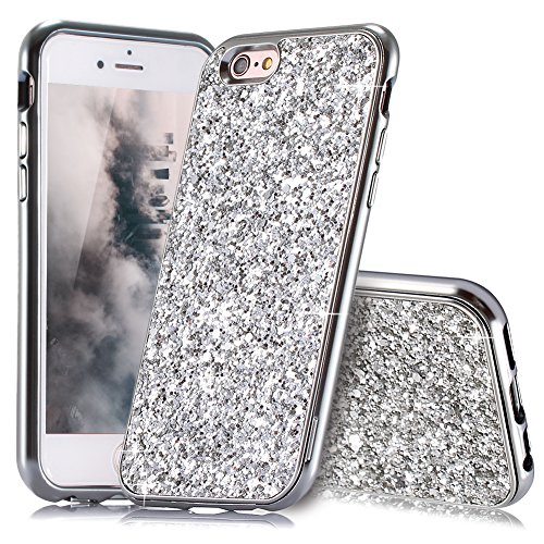 HUDDU Kompatibel mit iPhone 6 Plus Hülle Glitzer iPhone 6S Plus Handyhülle Bling Glitter Case Hart PC Bumper Hard Back Cover Abdeckung Sparkles Schutzhülle für iPhone 6s Plus 5.5 Zoll Silber