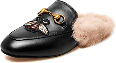 MAVIRS Mules for Women, Womens Leather Slip on Mule Flats Embroidery Backless Loafers Slippers Shoes