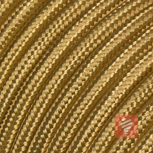 Textilkabel für Lampe, Stoffkabel 3-adrig (3x0,75mm²), Gold - 5 Meter