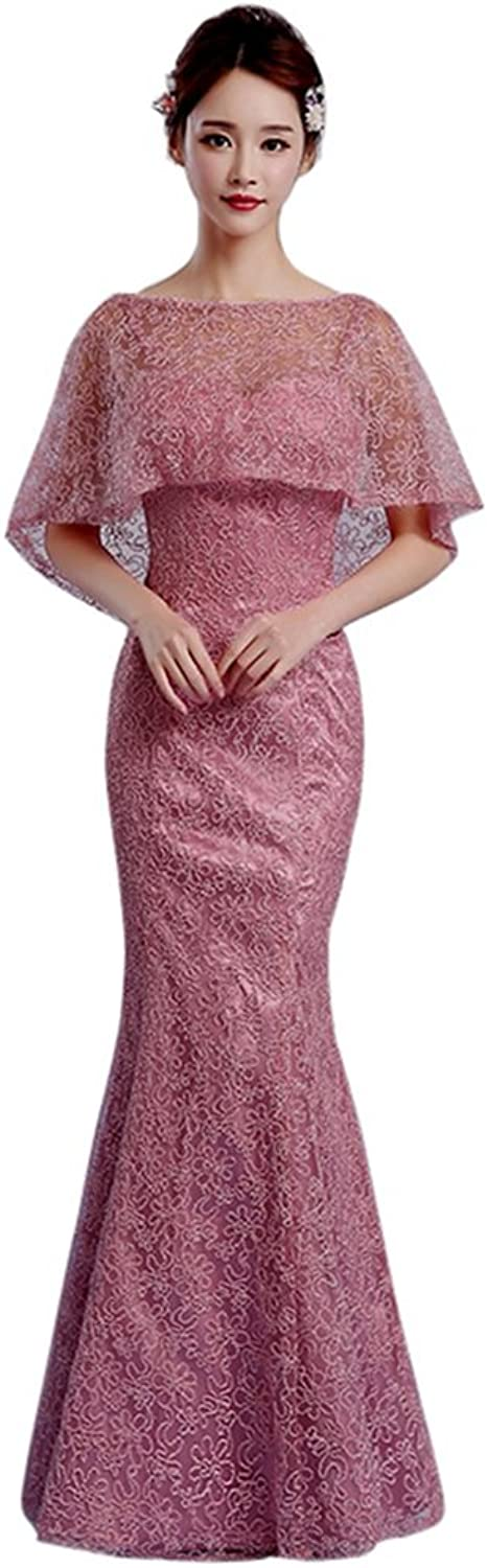 Drasawee Women's Mermaid Lace Cape Wedding Party Dress Formal Evening Gowns Pink US8