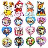 KRUCE 15 PC Paw Dog Patrol Birthday Party Foil Balloons, Paw Dog Patrol Foil Balloons for Kids Gift Fiesta de cumpleaños Suministros Decoración