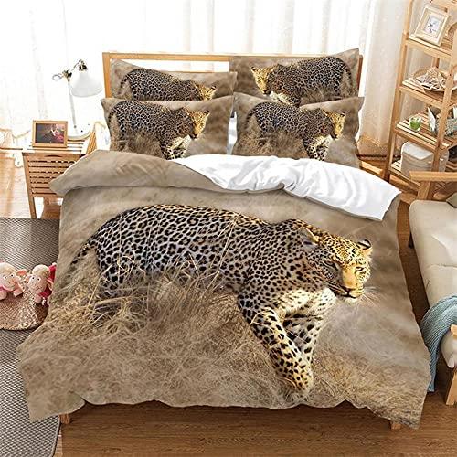 Bettwäsche 135x200 Gepard Heu Bettbezug Mikrofaser Mit Reißverschluss & 1 Kopfkissenbezüge 80 x 80 cm