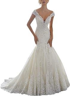 eb0c5cec13d SongSurpriseMall Robe de mariée col en V Robe de mariée sirène Robes de  mariée Princesse Dentelle