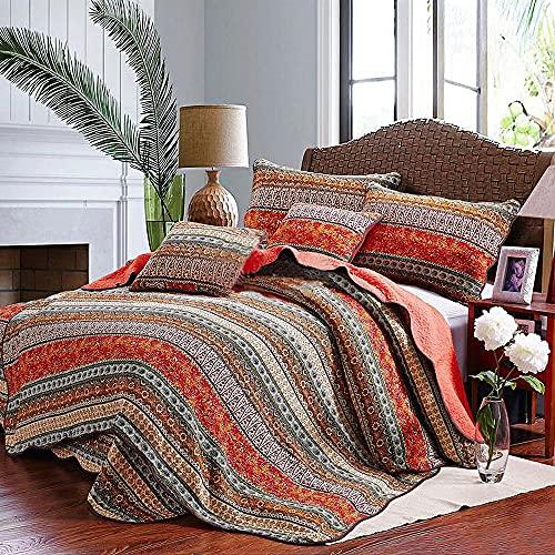 Qucover Böhmisch Tagesdecke Bettüberwurf mit Kissenbezug Bunt Boho Steppdecke aus Baumwolle Rot Weich Gesteppte Decke für Doppelbett (230x250 cm, Rot)