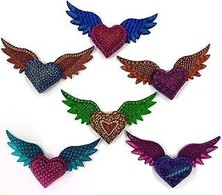 Handmade Wooden Alebrije Heart Shaped, Hanging Hearts, Dream Catcher (Sold by Piece)