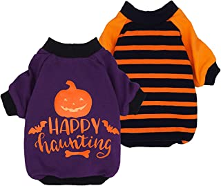 Fitwarm 2-Pack Halloween Dog Shirt for Pet Clothes 100% Cotton Puppy T-Shirts Cat Tee Breathable Stretchy Costumes Small