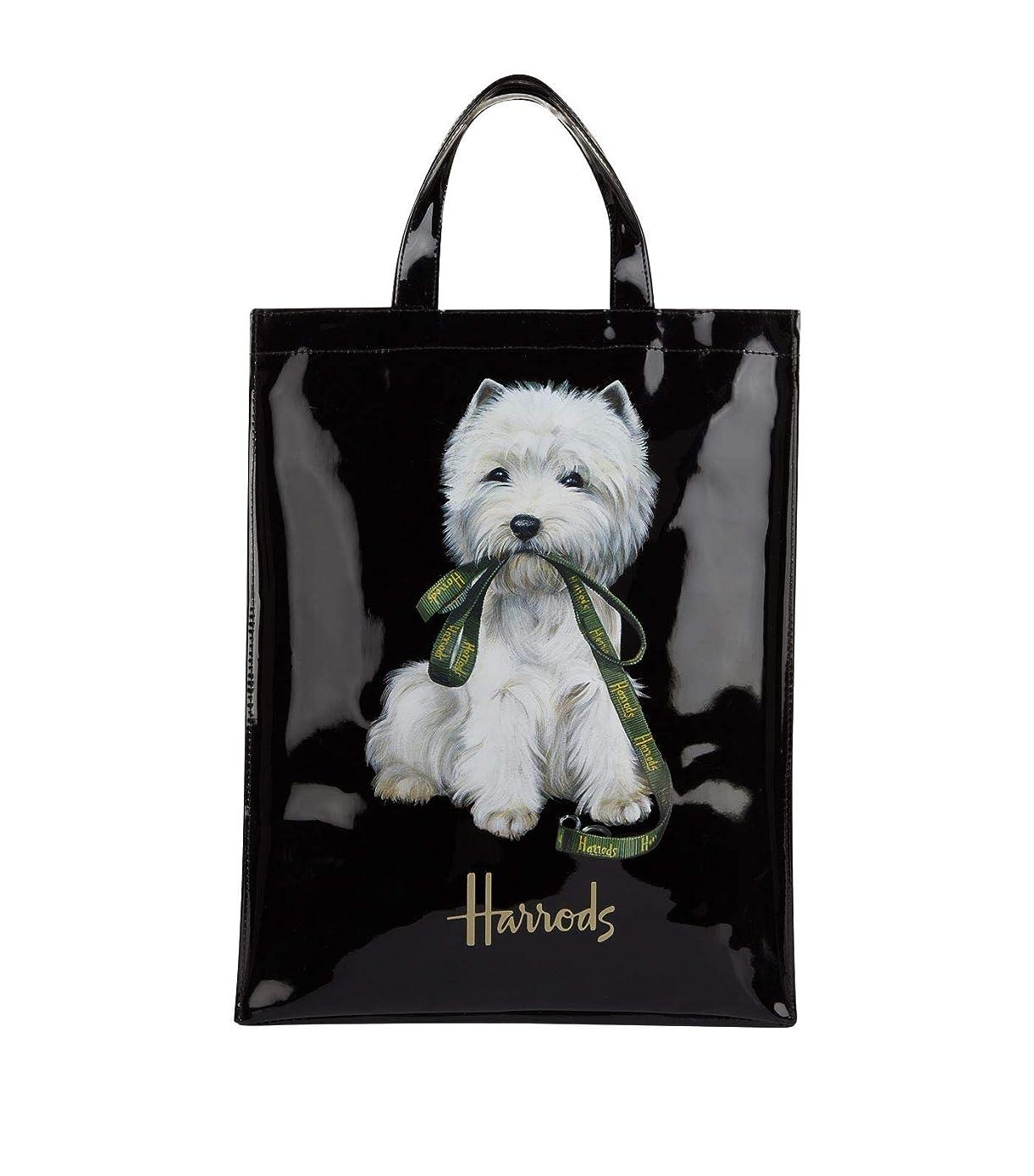 悪性の考案する相手(ハロッズ) Harrods 正規品 PVC トートバック Westie Shopper Bag 黒 裏地付