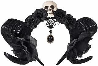 Girls Devil Horns Skull Headband Gothic Sheep Horn Flowers Headdress Hairband