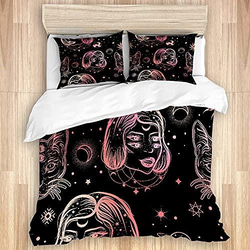 KOSALAER Funda de edredón, diseño de bruja oscura sin costuras en estilo artístico con cuatro ojos dama y gato, juego de cama de lujo de microfibra suave con cierre de cremallera