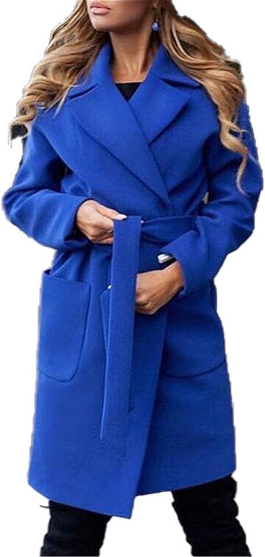 BA outerwear Turn Down Collar Long Wool Coat Elegant Winter Woman Wool Blend Coats Slim Type Female Pockets Coat