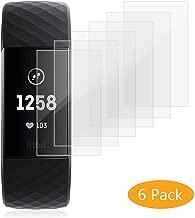 HEYSTOP Protector de Pantalla para Fitbit Charge 3 [6 Piezas], Cobertura Completa HD Clear Protector de Pantalla con [Anti-Burbuja][Arañazos Resistente] para Fitbit Charge 3 & Special Edition