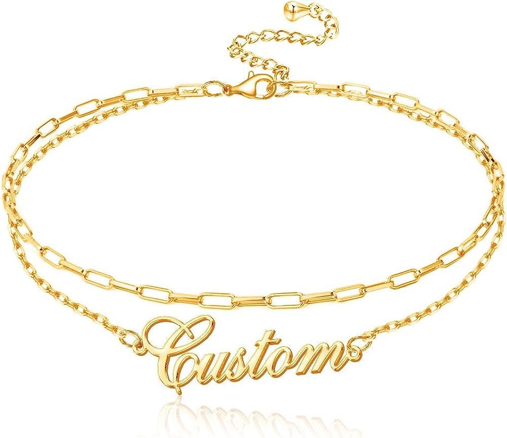 Cheap SALE Start Custom Name Ankle Bracelets Layered Pe for Women Cheap sale