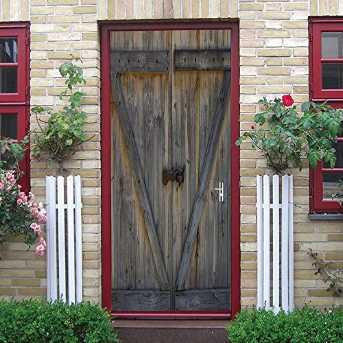 Pegatinas de puerta 3D, pegatinas de arte mural autoadhesivas, dormitorio, sala de estar, oficina, baño, decoración del hogar, puerta de madera