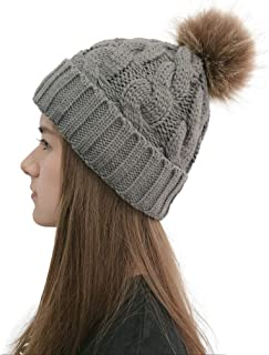 Women Casual Solid Stitching Outdoor Plush Ball Hats Crochet Knit Beanie Cap Winter Hats Comfortable Dark Gray