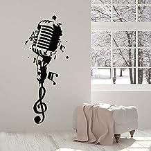 Calcomanía de vinilo para pared, micrófono de club de karaoke, notas musicales, pegatina de pared, decoración de pared de ...