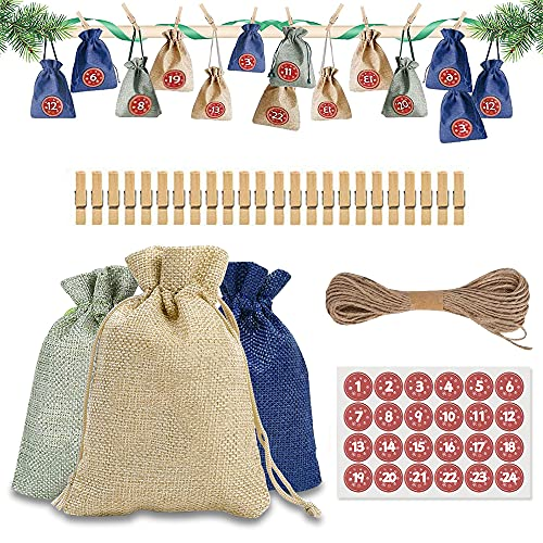 Calendario Dell'avvento, Avvento Calendario Avvento da Riempire, Sacchetti Juta, Calendario Dell'avvento con 1-24 Numeri di Tag in Legno per Natale Calendario Decorazione Festa(24 PCS)