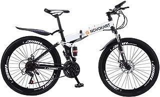 Novokart-Deportes Plegables/Bicicleta de montaña radios de Rueda de 24/26 Pulgadas, Rojo