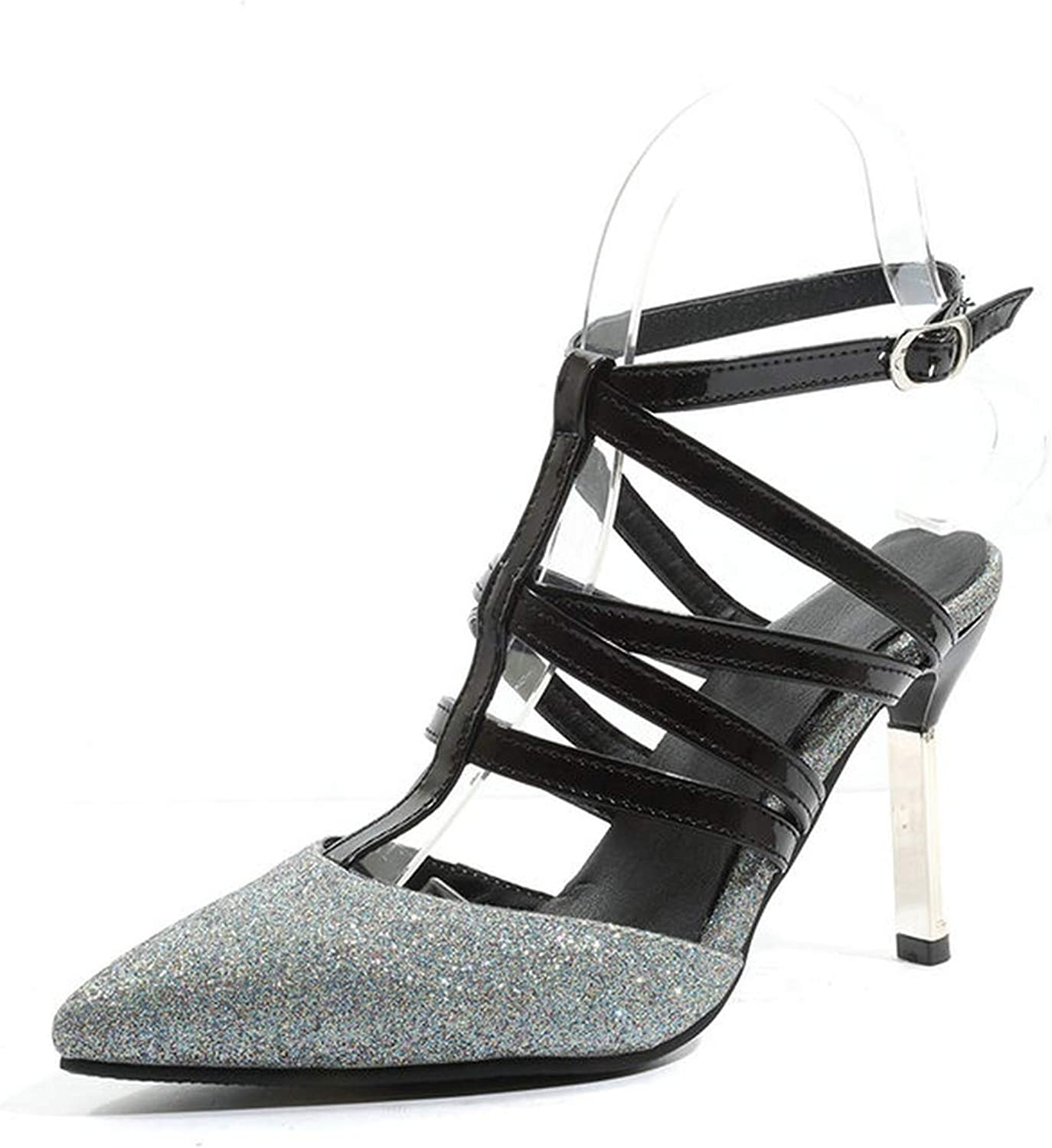 Women Pumps Thin High Heel Pu Leather Pointed Toe Patchwork Slingback Gladiator Sandals