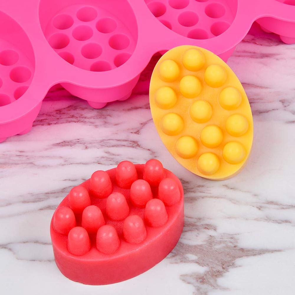 para manualidades caseras Molde de silicona para jab/ón 4 cavidades galletas ovalado pasteles chocolate para masaje
