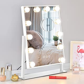 NUSVAN Mirror Makeup Mirror Hollywood Mirror Vanity Makeup Mirror with Light Smart Touch Control 3Colors Dimmable Light Detachable 10X Magnification 360 ° Rotation (30x41cm)