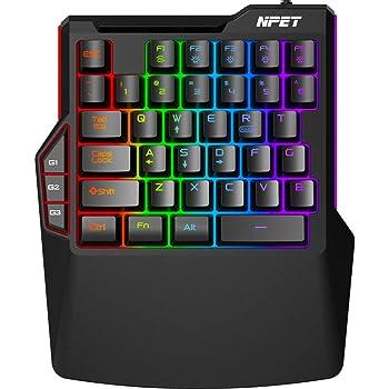 NPET T20 One-Handed Gaming Keyboard, RGB Backlit, Macro Keys, 38 Programmable Keys, Wrist Rest Support, Professional Ergonomic Rainbow Mechanical Feel Gaming Keypad for Desktop, Computer, PC