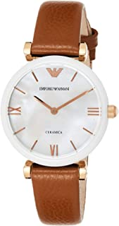 Emporio Armani Gianni T-Bar Women's Mother of Pearl Leather Band Watch - AR11040