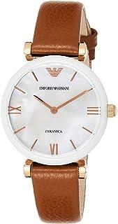 ساعة جياني تي-بار مرصعة باللؤلؤ وبسوار من الجلد للنساء من امبوريو ارماني - AR11040
