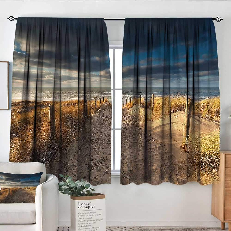 RenteriaDecor Beach,Room Darkening Curtains Sandy Path to The North Sea 42 X63  Nursery and Kids Bedroom Curtains