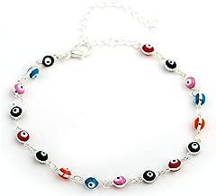 HUNO Multicolor Beads Evil Eyes Ankle Barefoot Link Chain Bracelet for Women Girls Beach Sandal Turkish Jewelry