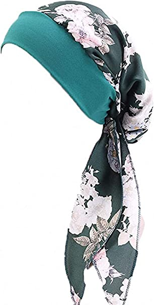 Haarausfall Chemo Schlaf Boomly Damen M/ädchen Blumen Turban Chiffon Stirnband Kopfbedeckungen Strecken Wrap Kappe Retro Kopftuch Turban Kappe F/ür Krebs