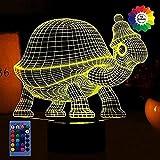 Lámpara luz nocturna tortuga 3D 7/16 Cambio color Lámpara LED Mesa control remoto alimentado por USB Regalo para niños Juguetes Decoración Decoraciones Navidad Regalo San Valentín Regalo cumpleaños